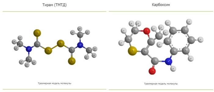 Тирам и Карбоксин в трёхмерных моделях